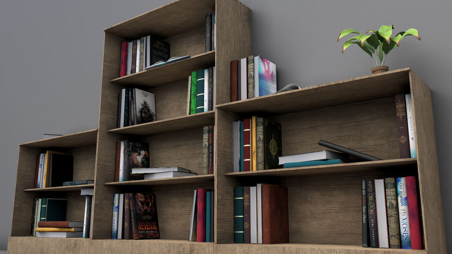 Books + Opened Books + Bookshelf royalty-free 3d model - Preview no. 3