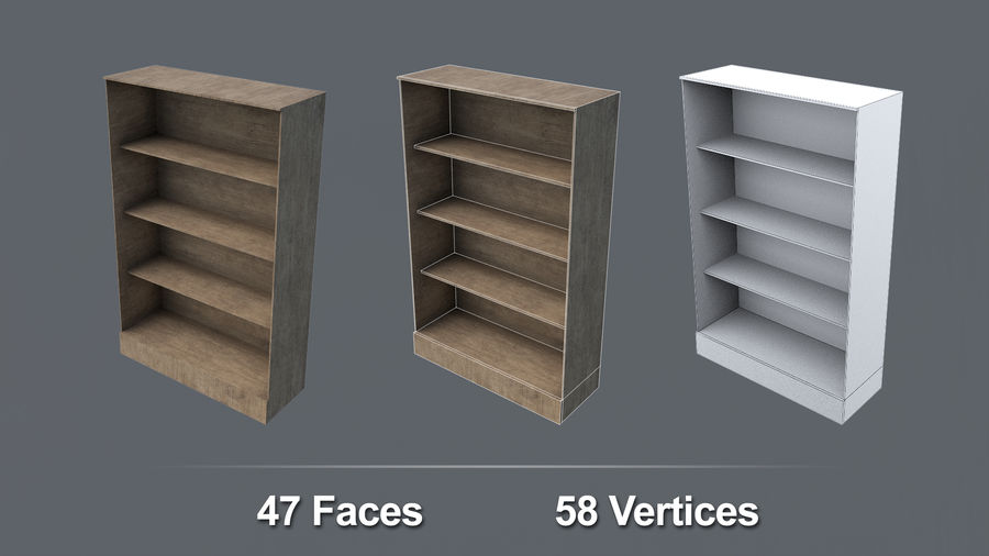 Books + Opened Books + Bookshelf royalty-free 3d model - Preview no. 10