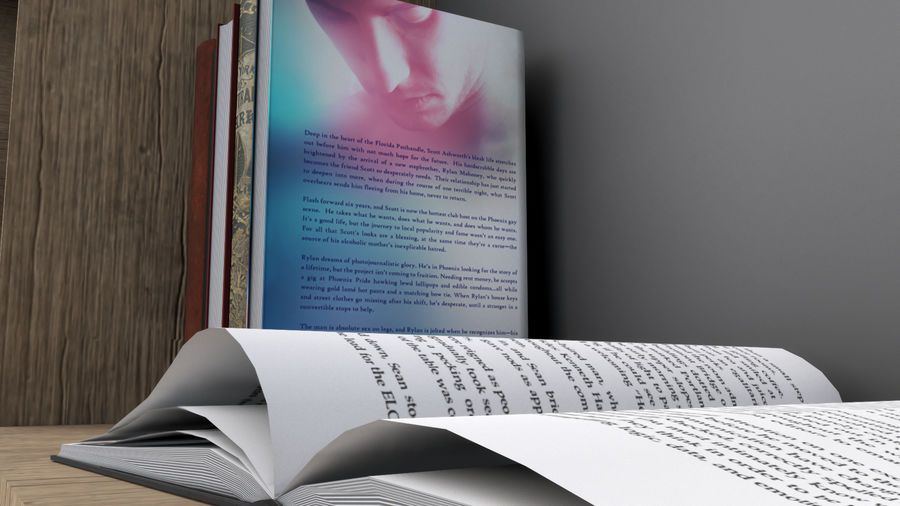 Books + Opened Books + Bookshelf royalty-free 3d model - Preview no. 5