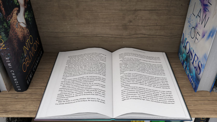 Books + Opened Books + Bookshelf royalty-free 3d model - Preview no. 7