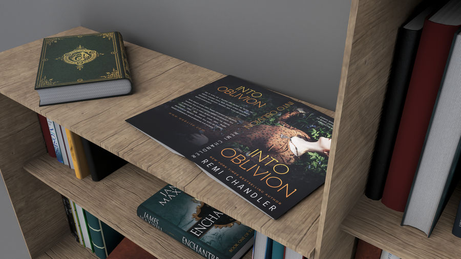 Books + Opened Books + Bookshelf royalty-free 3d model - Preview no. 4
