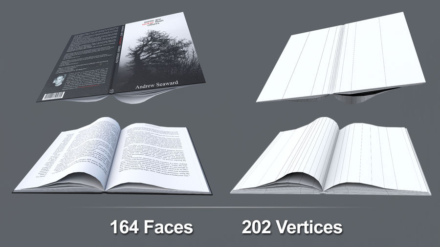 Books + Opened Books + Bookshelf royalty-free 3d model - Preview no. 9