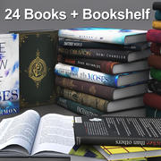Books + Opened Books + Bookshelf 3d model