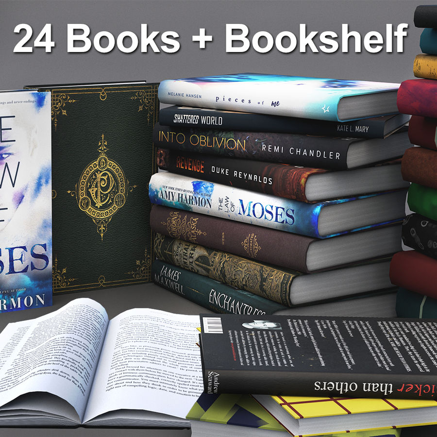 Books + Opened Books + Bookshelf royalty-free 3d model - Preview no. 1