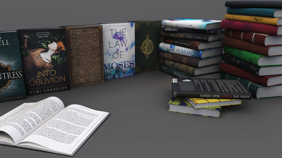 Books + Opened Books + Bookshelf royalty-free 3d model - Preview no. 2