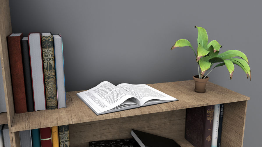 Books + Opened Books + Bookshelf royalty-free 3d model - Preview no. 6