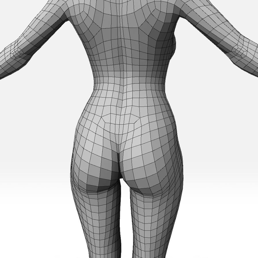 女Basemesh royalty-free 3d model - Preview no. 9
