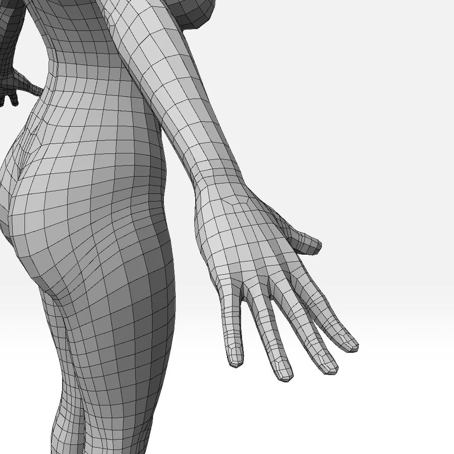 女Basemesh royalty-free 3d model - Preview no. 11