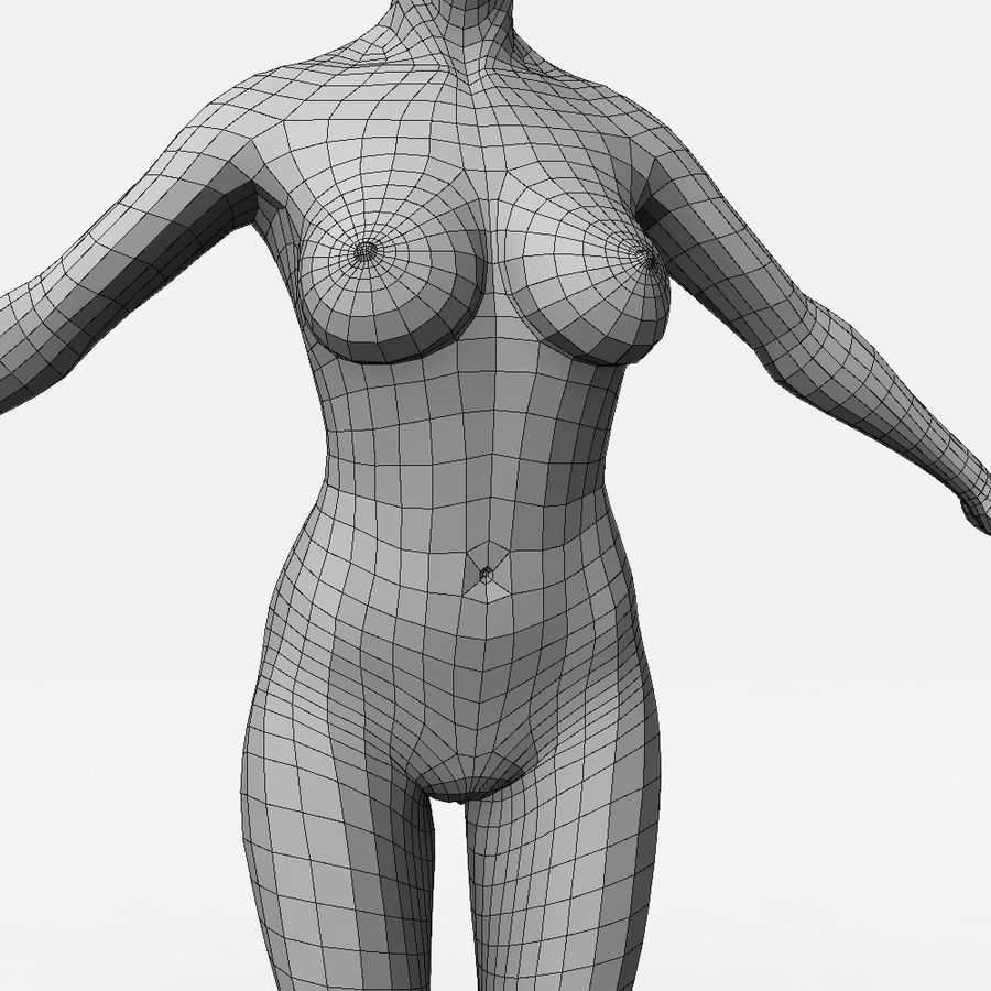 女Basemesh royalty-free 3d model - Preview no. 6