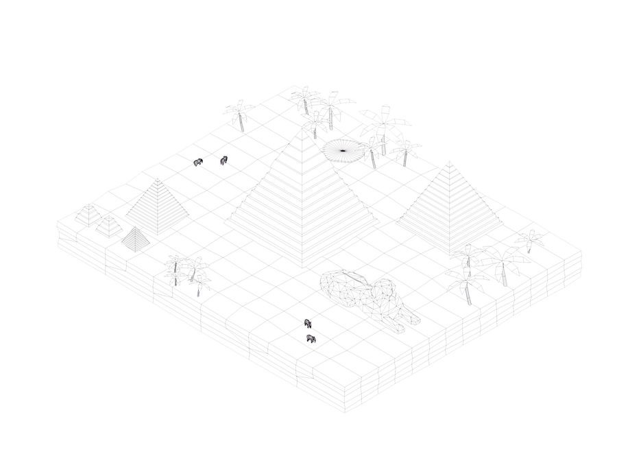 Low Poly Giza Egypt Pyramids Landmark royalty-free 3d model - Preview no. 6