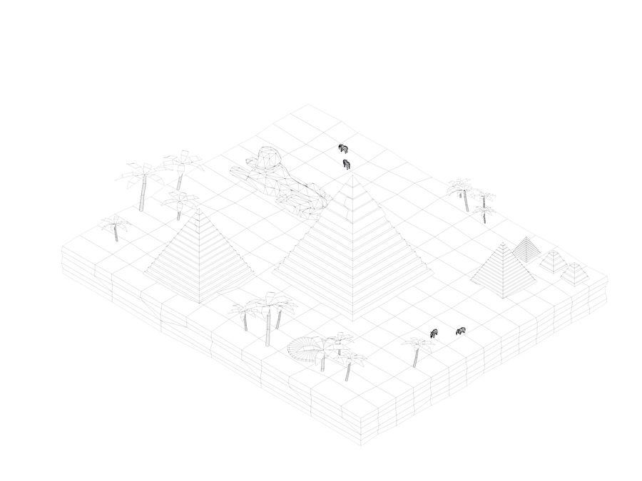 Low Poly Giza Egypt Pyramids Landmark royalty-free 3d model - Preview no. 5