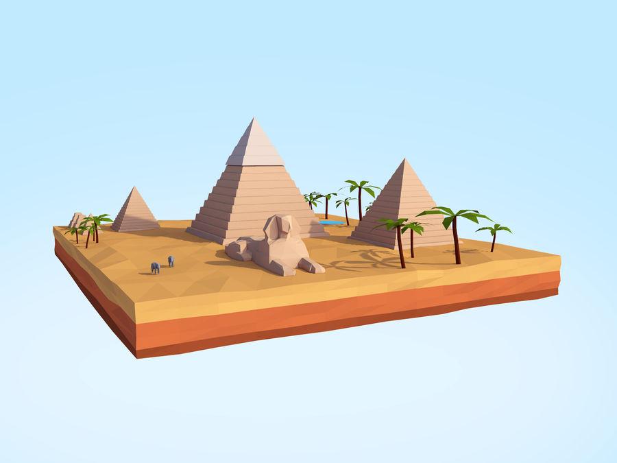 Low Poly Giza Egypt Pyramids Landmark royalty-free 3d model - Preview no. 3