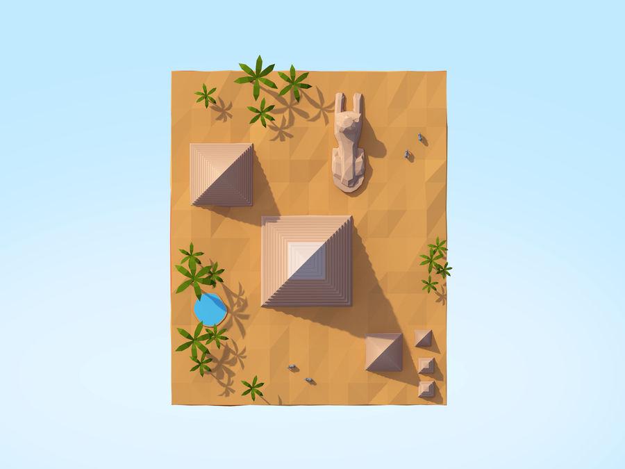 Low Poly Giza Egypt Pyramids Landmark royalty-free 3d model - Preview no. 4