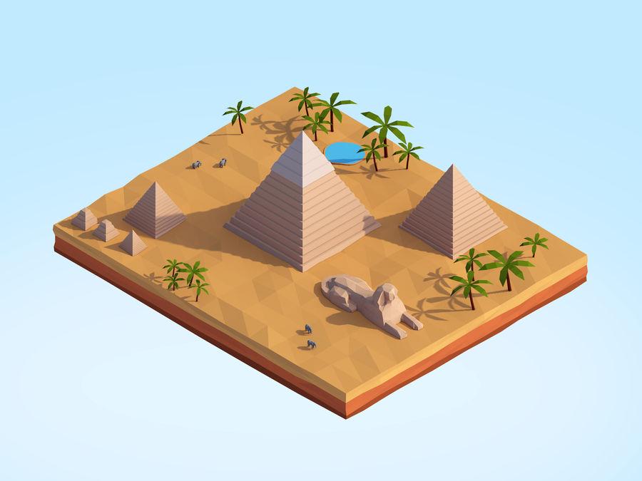 Low Poly Giza Egypt Pyramids Landmark royalty-free 3d model - Preview no. 2