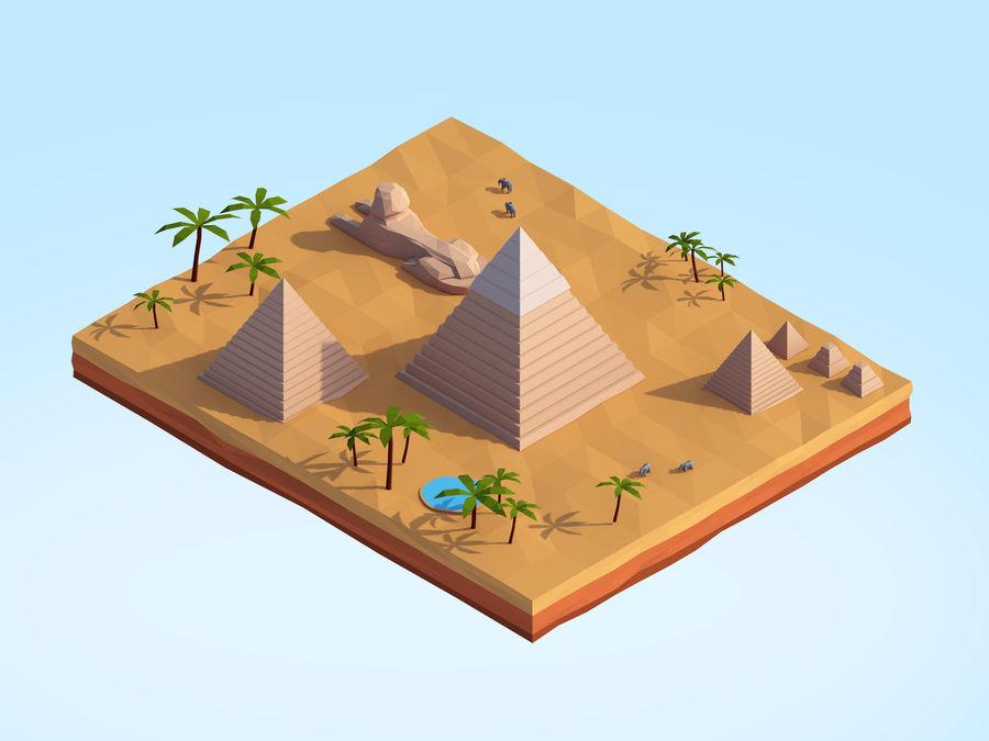 Low Poly Giza Egypt Pyramids Landmark royalty-free 3d model - Preview no. 1