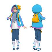 Blue Hijab Anime Girl 3d model