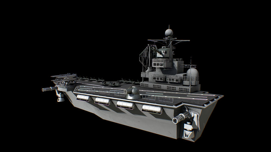 aircraft carrier battleship royalty-free 3d model - Preview no. 3