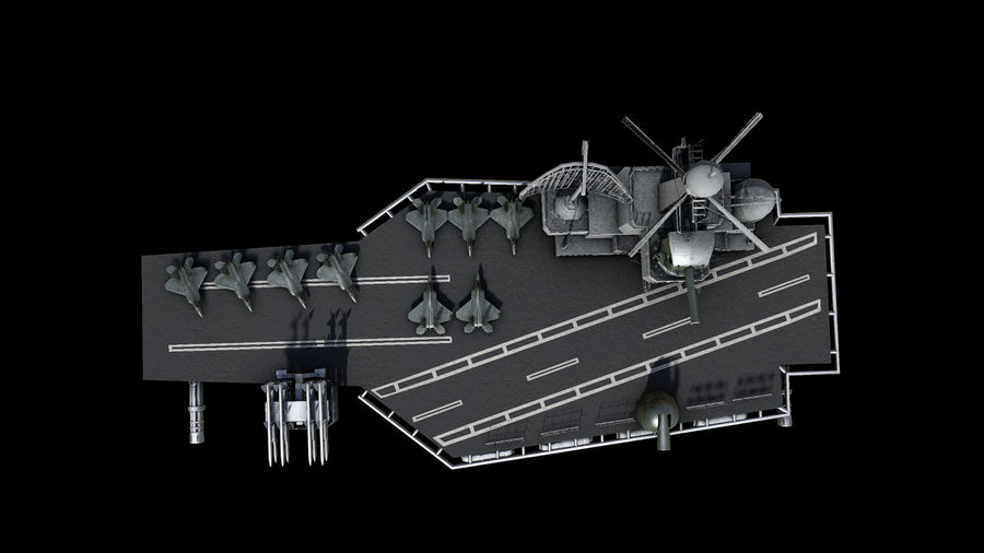 aircraft carrier battleship royalty-free 3d model - Preview no. 7
