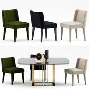 Cadeira Meridiani kita + mesas Meridiani charlie 3d model
