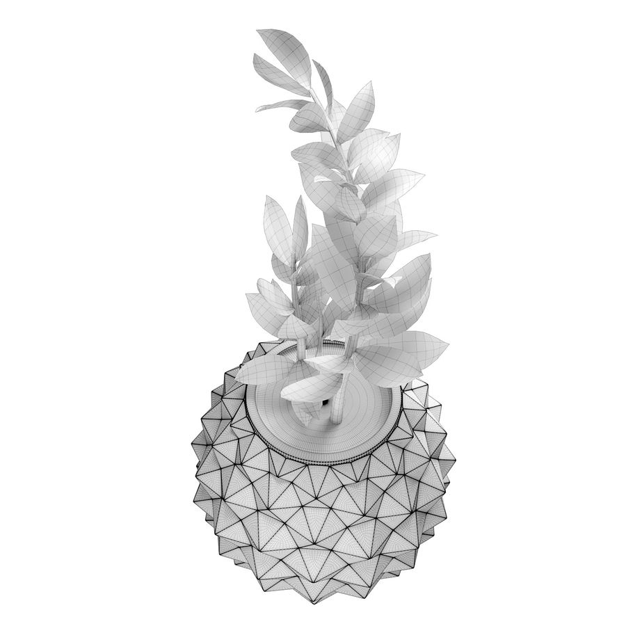Bloempot met plant royalty-free 3d model - Preview no. 5
