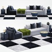 Meridiani louis sofa pequeno 3d model