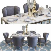 Conjunto de mesa de restaurante de luxo com poltrona Clark e com decoração 3d model