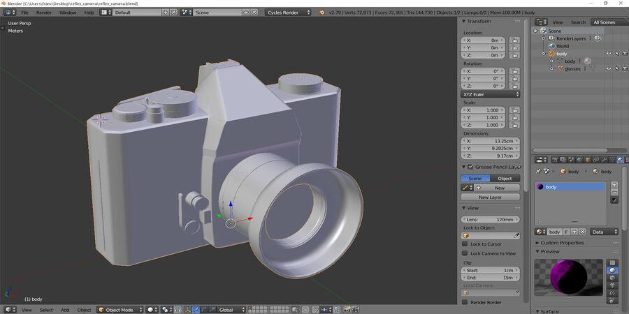 Spiegelreflexkamera royalty-free 3d model - Preview no. 6