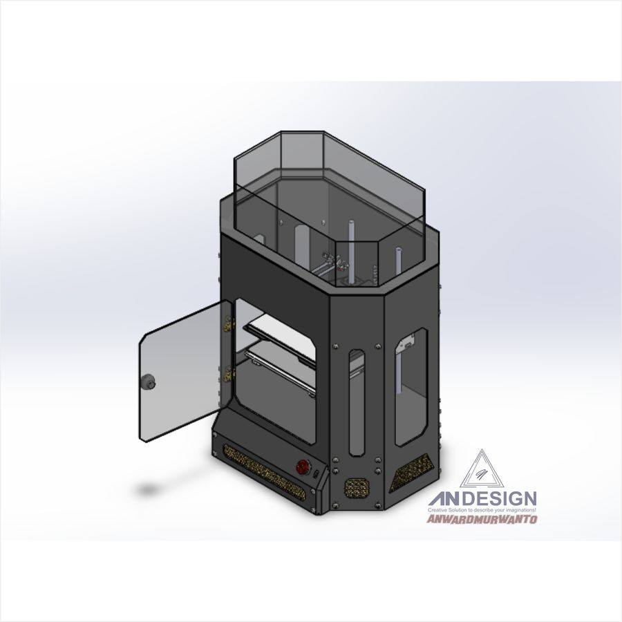 3Dプリンター機械 royalty-free 3d model - Preview no. 8