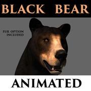urso preto animado 3d model