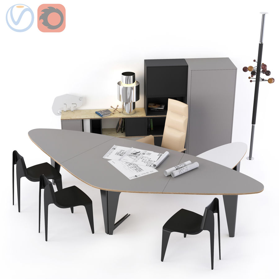 Muebles de oficina royalty-free modelo 3d - Preview no. 1
