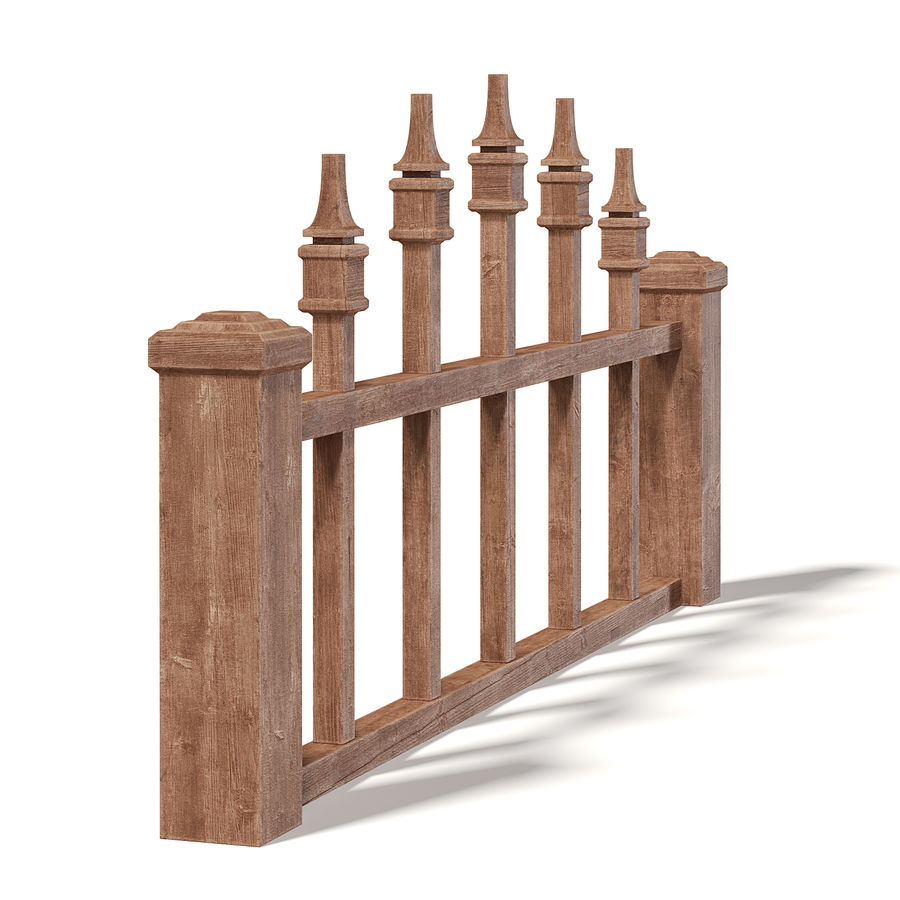 Wooden Fence 3D 모델 royalty-free 3d model - Preview no. 3
