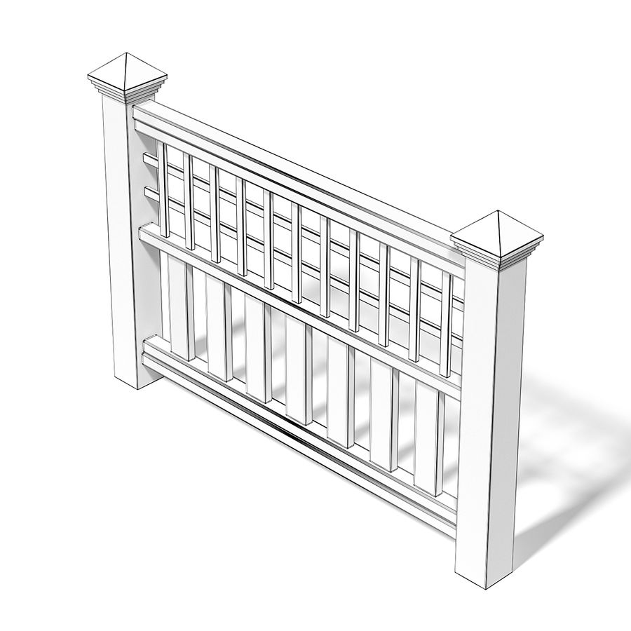 Wooden Fence 3D 모델 royalty-free 3d model - Preview no. 6