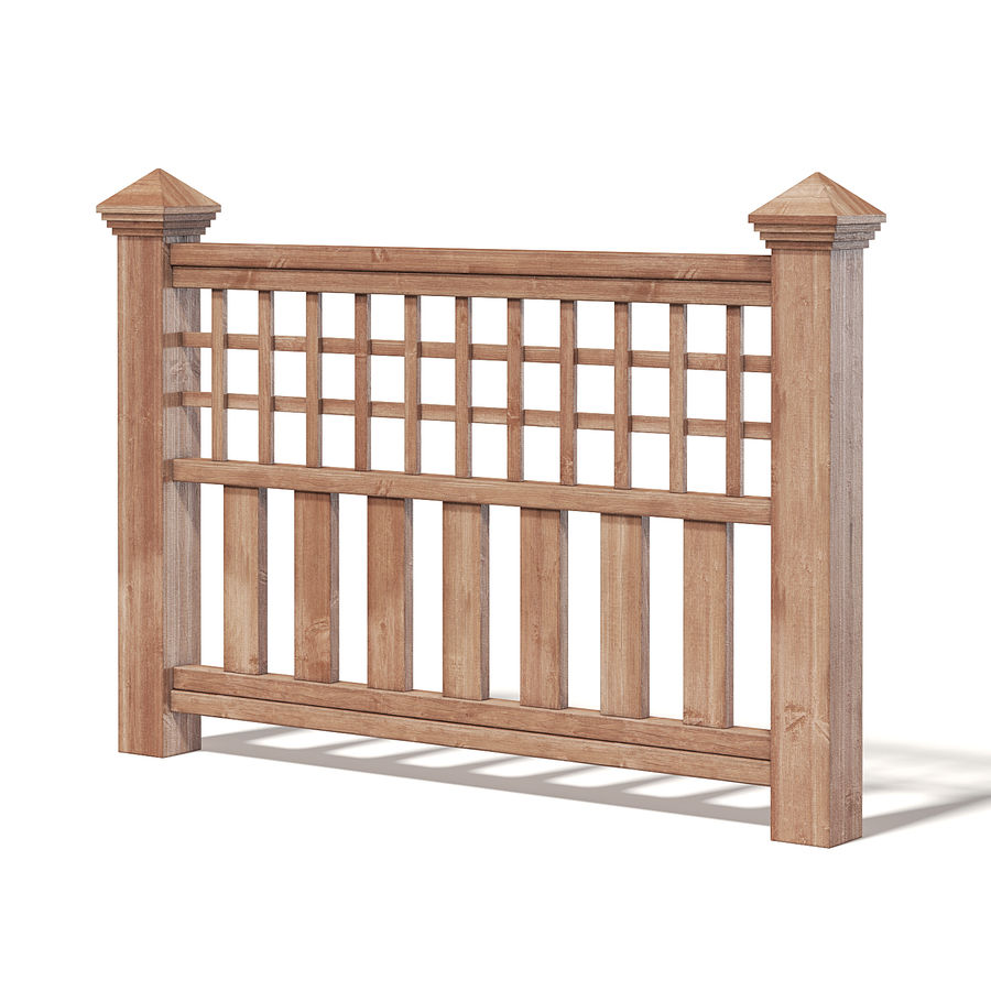 Wooden Fence 3D 모델 royalty-free 3d model - Preview no. 1