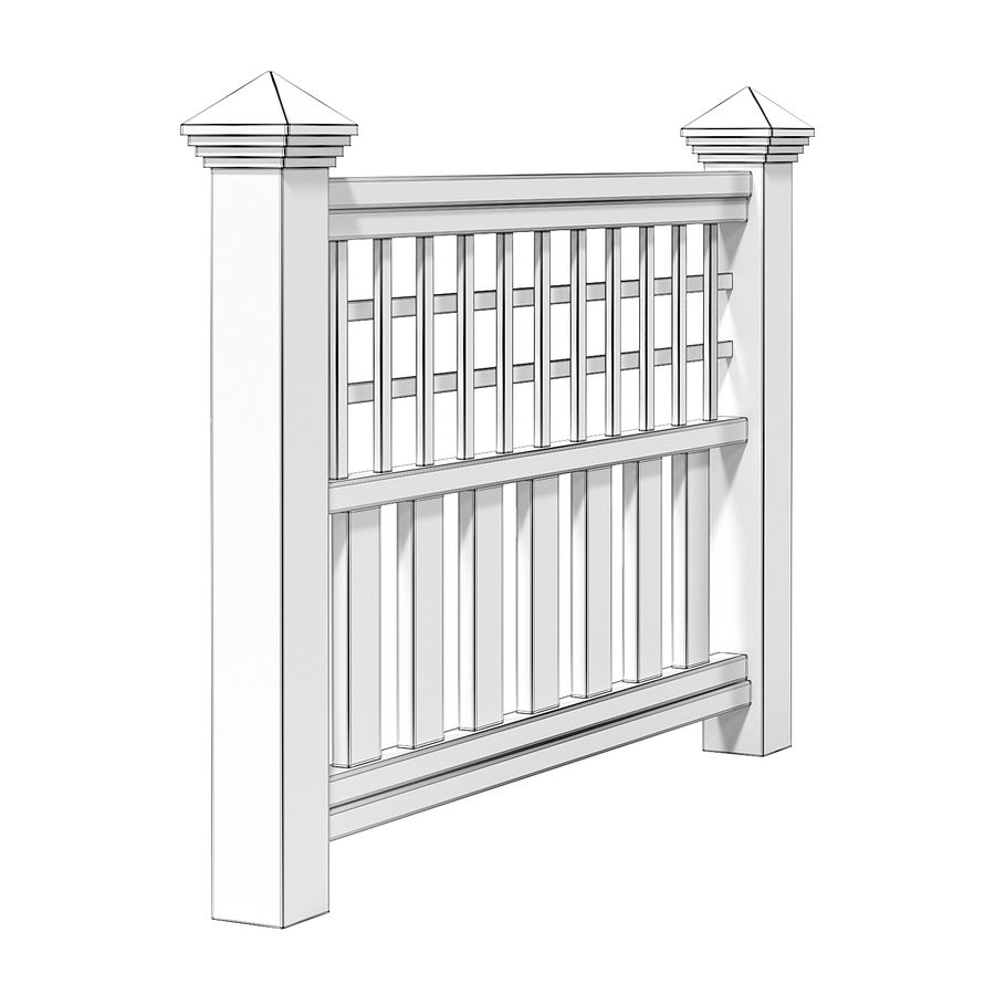 Wooden Fence 3D 모델 royalty-free 3d model - Preview no. 4
