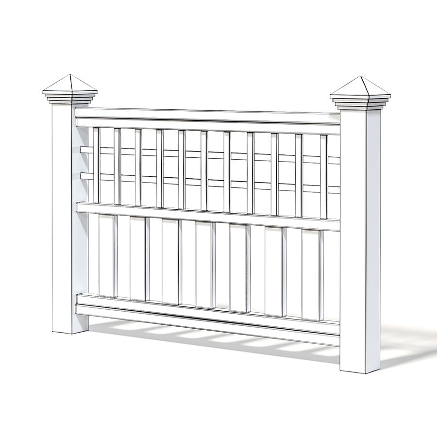Wooden Fence 3D 모델 royalty-free 3d model - Preview no. 2
