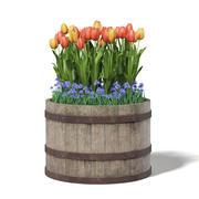Barrel with Flowers 3D Model 3d model