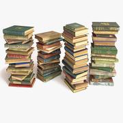 书堆放在地板上8 3d model