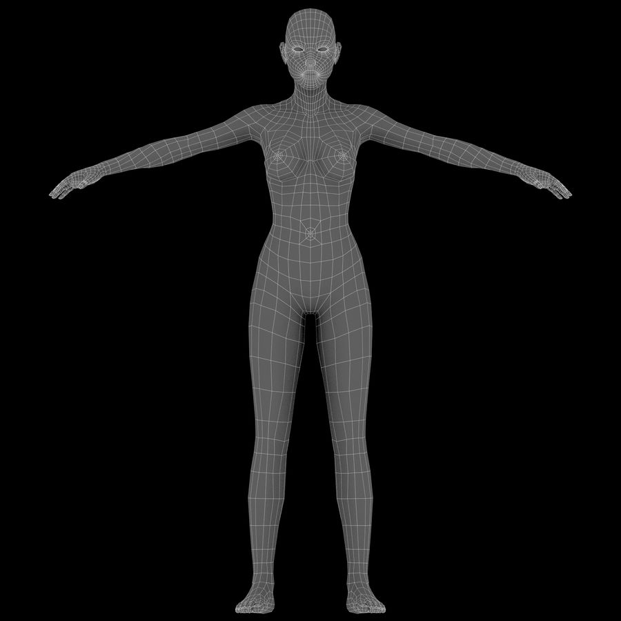 ベースメッシュの女性トポロジ royalty-free 3d model - Preview no. 16