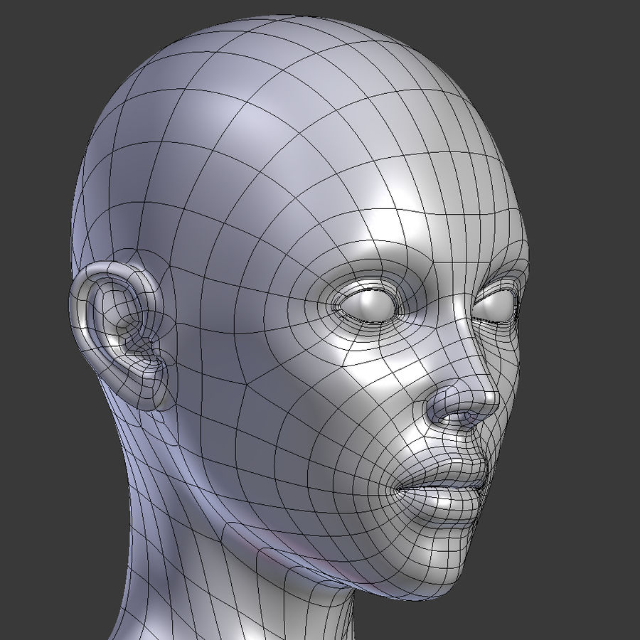 ベースメッシュの女性トポロジ royalty-free 3d model - Preview no. 11