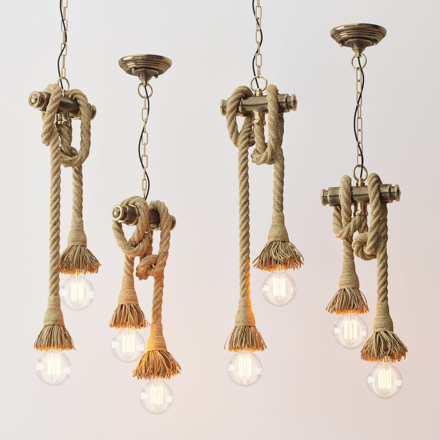 Lámpara colgante estilo loft 2 royalty-free modelo 3d - Preview no. 4