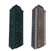Gebäude nachts beleuchtet 3d model
