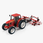 Ciągnik z podwójnym zgrabiarką rotacyjną Ogólny model 3D 3d model