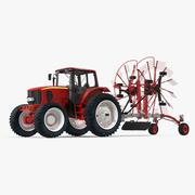 Traktor med Twin Rotary Rake Generic Parked 3D Model 3d model