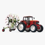 Traktor med Twin Rotor Rake Claas Liner 2700 parkerad 3D-modell 3d model