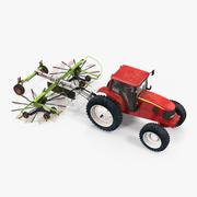 Traktor med begagnad tvillingrotor Rake Claas Liner 2700 3D-modell 3d model