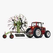 Traktor med begagnad tvillingrotor Rake Claas Liner 2700 parkerad 3D-modell 3d model