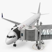 Puente de pasajeros del aeropuerto Jetway con aviones modelo 3d