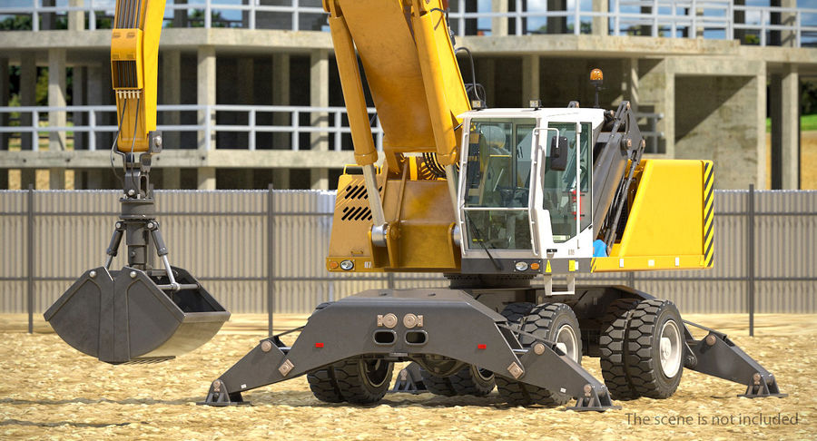Wheeled Excavator Generic royalty-free 3d model - Preview no. 4
