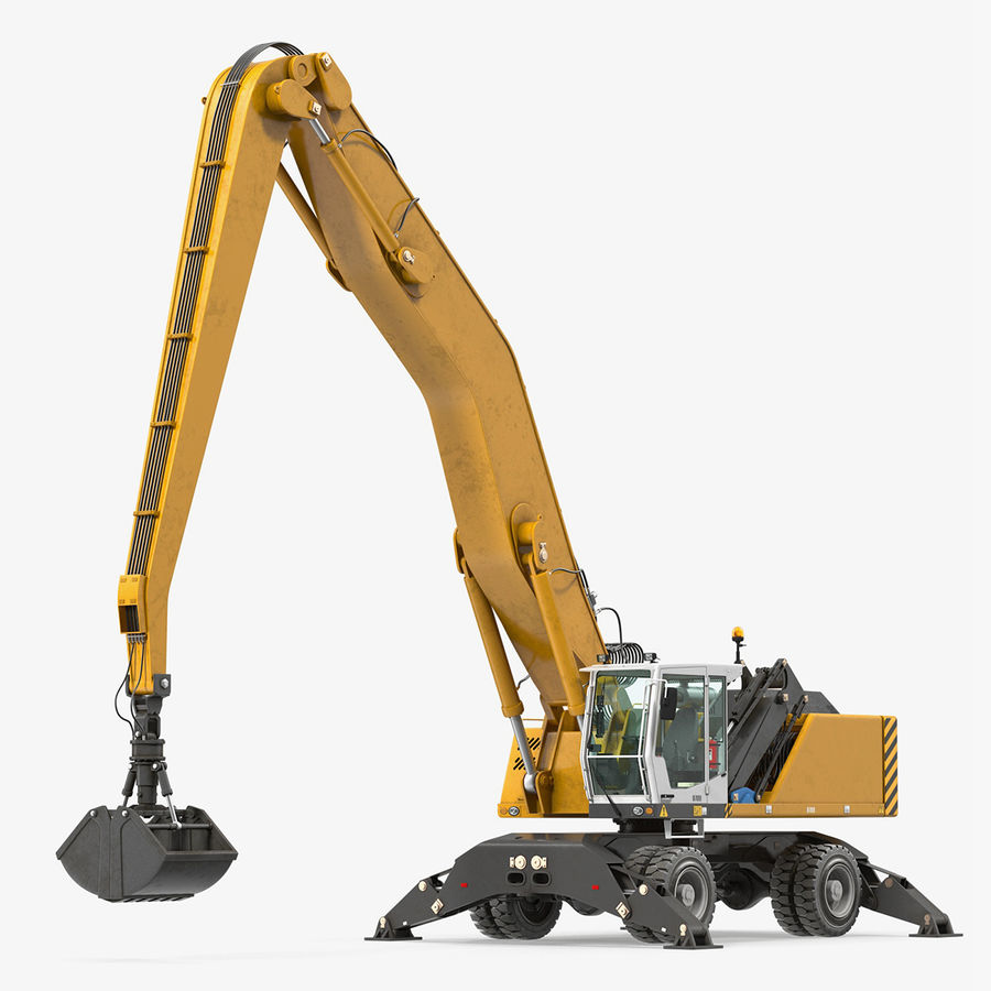 Wheeled Excavator Generic royalty-free 3d model - Preview no. 1