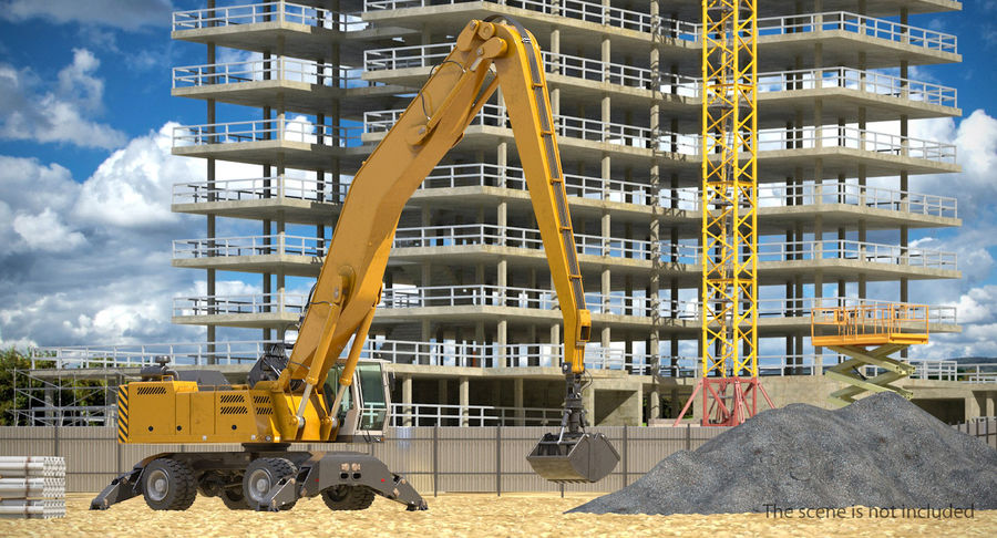 Wheeled Excavator Generic royalty-free 3d model - Preview no. 3
